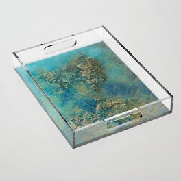 Blue And Gold Modern Abstract Art Painting Acrylic Tray