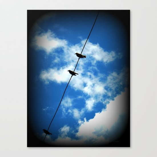 Birds on a Wire -- White clouds, blue sky Canvas Print