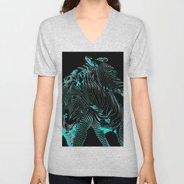 Turquoise Inverse Zebras Unisex V-Neck