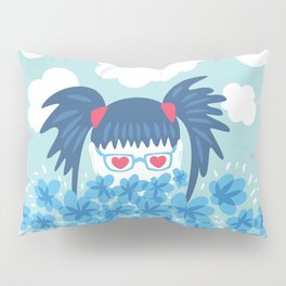 Geek Girl With Heart Shaped Eyes And Blue Flowers Pillow Sham