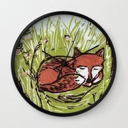 Fox in a Field Wall Clock