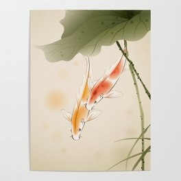 Koi fishes in lotus pond Poster