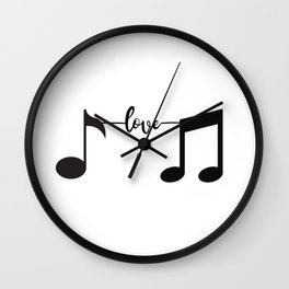 Music Pulse Heartbeat Notes Clef Frequency Wave Sound Festival Wall Clock