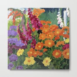 Floral Garden of Iris, Marigold, and Pansies still life floral portrait painting by Emil Nolde Metal Print
