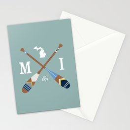 Paddle MI, Michigan Lake Life Painted Oars Stationery Cards