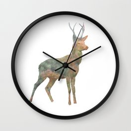 Young Stag double exposure Wall Clock
