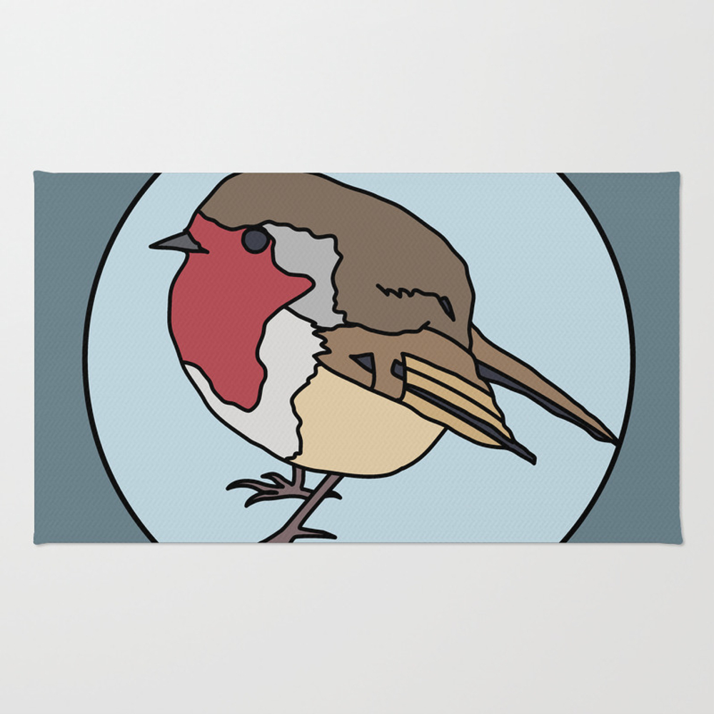 Robin - Robin Redbreast (blue) Rug by Mothpathtags (RUG8922183) photo