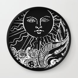 The Sun and Moon Tarot Cards | Obsidian & Pearl Wall Clock