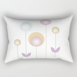 abstract stylized flowers in pink gold ochre Rectangular Pillow