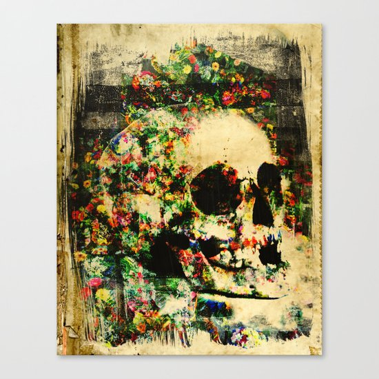 floral skully 2 Canvas Print