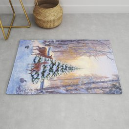 Deer in the snowy forest Rug