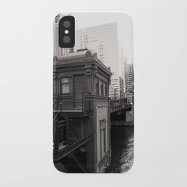 Black and White Chicago River Boat House Photography iPhone Case