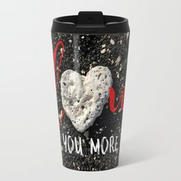 """Love You More"" Hawaii Beach with Coral Heart Photo Travel Mug"