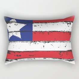 Wood Grain American Flag 4th of July with Fade Print Rectangular Pillow