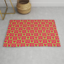 Green and Pink Checkered Squares with Hearts Rug