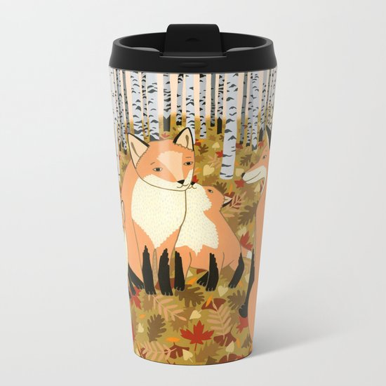 Fox family in the autumn forest Metal Travel Mug