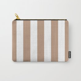 Pale taupe violet - solid color - white vertical lines pattern Carry-All Pouch