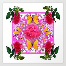 PINK ROSE FLOWERS  &  GOLDEN BUTTERFLIES GARDEN ART Art Print
