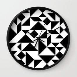 Tangram Composition in Black and White Wall Clock