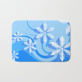 Winter Flower Blue Bath Mat
