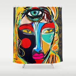 Looking for the third eye street art graffiti Shower Curtain