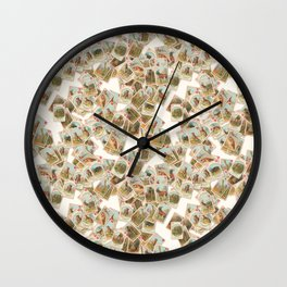 Children's Victorian card game animals domestic and wild wallpaper Wall Clock