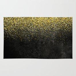 Gold glitter & Black grunge Rug