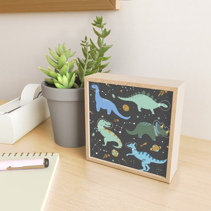 Dinosaurs in Space in Blue Framed Mini Art Print