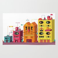 buildings Area & Throw Rugs featuring Buildings by Luis Pinto