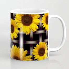 Bright Yellow Sunflower and Industrial Grid Pattern Coffee Mug