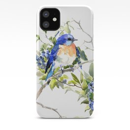 Bluebird and Blueberry iPhone Case