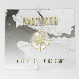 Vancouver - Vintage Map and Location Throw Blanket