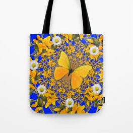 BUTTERFLY GREEN FROGS WHITE DAISIES BLUE MANDALA Tote Bag