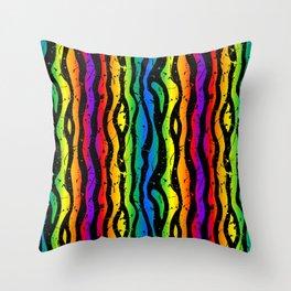 crazy 90s rainbow splatter zebra stripes Throw Pillow