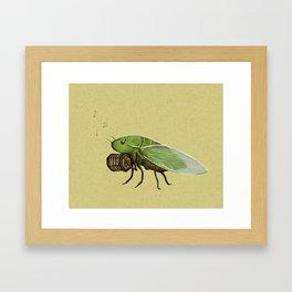 Cicada Playing a Sqeezebox Framed Art Print