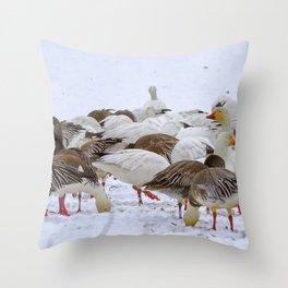 New Melle Snow Geese Throw Pillow