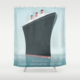 Vintage Travel Poster - Cruise Ship Shower Curtain