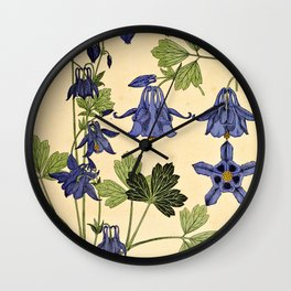 Maurice Verneuil - Ancolie - botanical poster Wall Clock