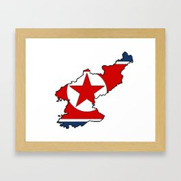 North Korea Map with North Korean Flag Framed Art Print