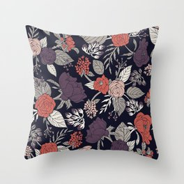 Purple, Gray, Navy Blue & Coral Floral/Botanical Pattern Throw Pillow