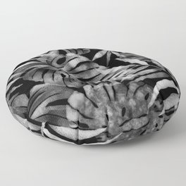 Monstera and palm watercolor black and white Floor Pillow