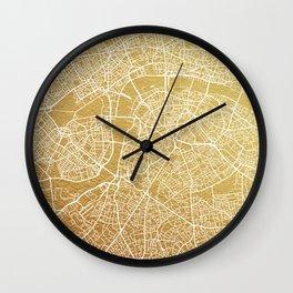 Gold London map Wall Clock