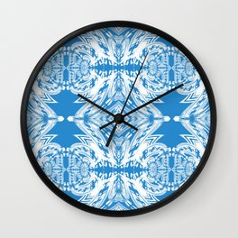 Blue and White Classy Psychedelic Wall Clock
