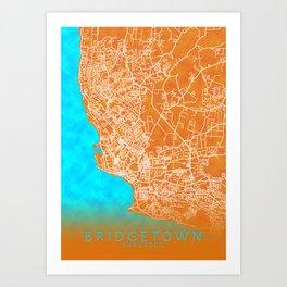 Bridgetown, Barbados, Gold, Blue, City, Map Art Print