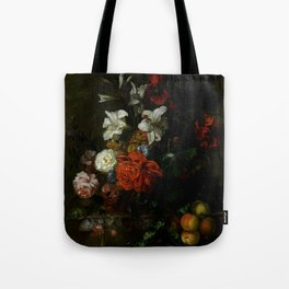 """Ernest Stuven """"Poppies, lilies, roses and other flowers in a glass vase on a draped marble ledge"""" Tote Bag"""