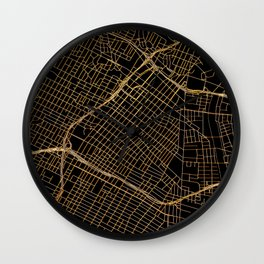 Black and gold Los Angeles map Wall Clock