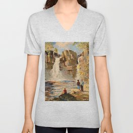 Mid Century Modern Vintage Travel Poster England Landscape Rocky Waterfall Unisex V-Neck