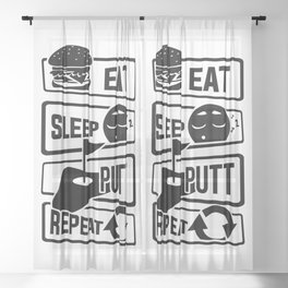Eat Sleep Putt Repeat - Golf Ball Course Fairway Sheer Curtain
