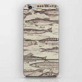 father's day fisherman gifts whitewashed wood lakehouse freshwater fish iPhone Skin