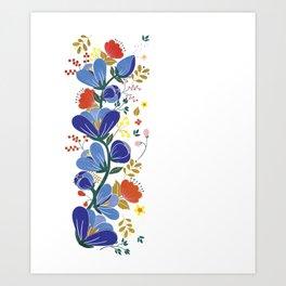 folk spring flowers no2 Art Print